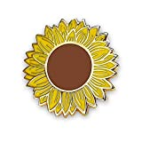 Mystery Pins Sunflower Badge, Hard Enamel Pin, Yellow, Metal, 2 Pin Backs