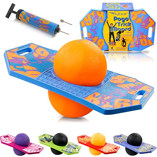Flybar Pogo Ball for Kids, Jump Trick Bounce Board with Pump...