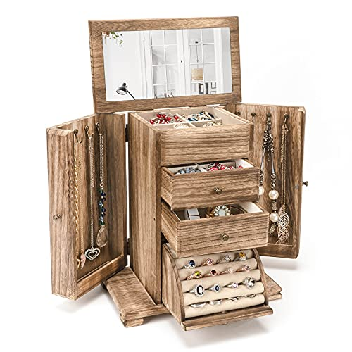 Emfogo Jewelry Box, Women Girls Jewelry Organizer Case with Mirror Display for Rings Earrings Necklaces Bracelets, 4 Layer Rustic Style (Rustic Brown)