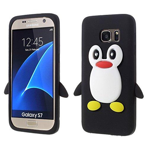 SKS Distribution Nero pinguino Custodia in silicone / Cover / Case per Samsung Galaxy S7