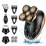 Electric Shavers for Men, 5-in-1 USB IPX7-Waterproof 4D Rechargeable Cordless Dry Wet Bald Head Electric Trimmer Shaver for Men, LED Display Rotary Shaver Beard Grooming Kit for Men (Gold)