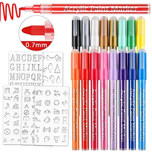 Magicfly 16 Farben 0.7mm Acrylstifte Marker Stifte mit Feine Spitze lackstifte Wasserfest Acryl Marker für DIY Steine Bemalen, Leinwand,Metall, Holz, Glasmalerei, Papier, Keramik, Rock, Basteln …