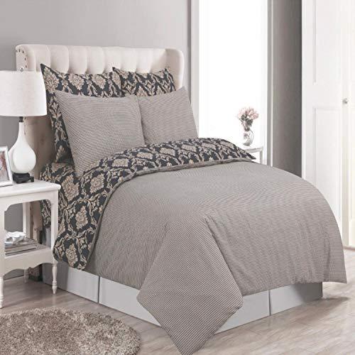 Juego de cama completo de 4 piezas, funda de edredón estampada, funda de almohada, 100% algodón, reversible TC200, 920., Doublé