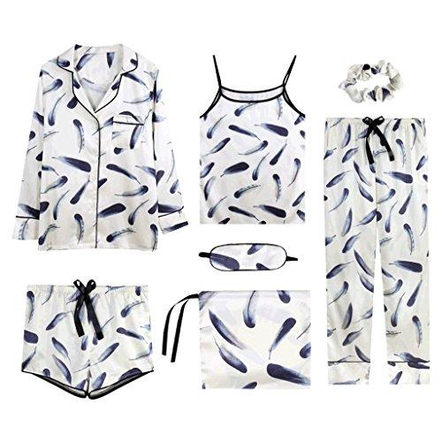 PIAOLING Pijama de Seda de Hielo de Manga Larga de Verano, Japón y Corea del Sur Pantalones Cortos de Tirantes Sexy Conjunto de casa cómodo, Pijama de Mujer (Color : D, tamaño : L)