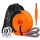 Heavy Duty Tow Strap Kit, 3''×20' ATV Tow Straps with Loops, Towing Winch Recovery Strap, Off-Road Recovery Kit with 20ft Webbing + 2D Ring Shackles + 2ft Axle Strap + Storage Bag
