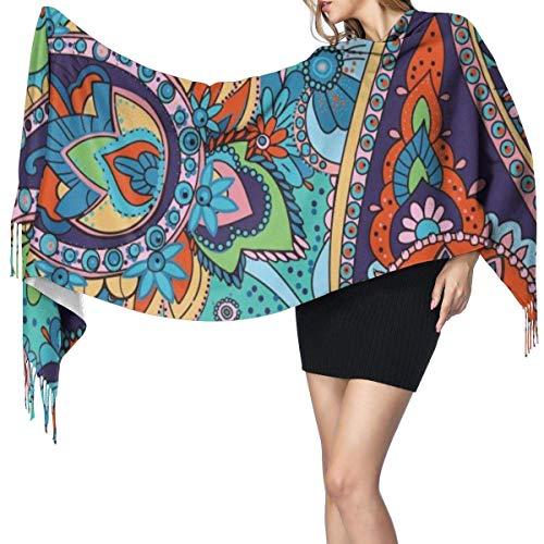 XCNGG Sciarpa lunga moda scialle finto cashmere con frange Women Scarves Winter Warm Cmyk Color Space Cashmere-like Shawl Stole Scarf