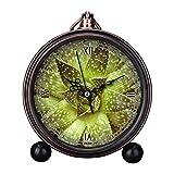 girlsight Reloj despertador de mesa de noche analógica con diseño de flores, fácil de leer, de cuarzo, con diseño de flores, estilo retro, B4418.