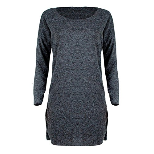 Kleid Damen,Binggong Mode Frauen Fester O-Ansatz Strickjacke Beiläufiges Langes Hülsen Pullover Kleid Elegantes Strickkleid Jersey Kleid Winter...