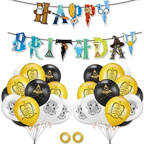 23 PCS Suministros Fiesta Mago Fiesta dekoration ZSWQ-Harry Potter Cumpleaños Decoración Banner de Feliz Cumpleaños Mago Globo Halloween fiestas Suministros para Niños Niños Niñas