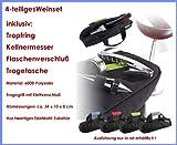 4-tlg. Weinset Sommelier-Set - Dekantier-Set Weingarnitur Kellnermesser aus Edelstahl mit Korkenzieher, Tropfring und Flaschen-Verschluß