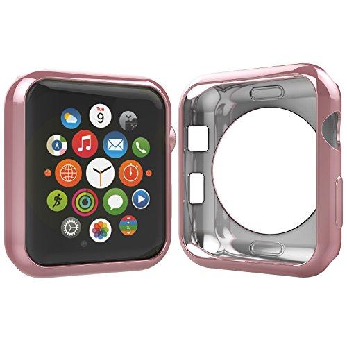 Anjoo Cover Compatibile per Apple Watch 38mm, Custodia Protettiva dal Flessible Morbido TPU Compatibile con Apple Watch 38mm Series 2/Series3 (Oro Rosa)