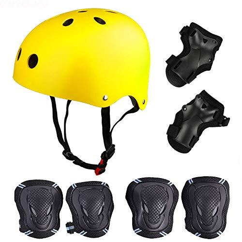 SelfLove Skateboard/Skate Protektoren Set mit Helmet - Skate Helmet Knie Pads Elbow Pads mit Handgelenkschoner für Skate, Skateboard, Roller Skate, BMX, Bike und Anderen Extreme Sports, L Gelb