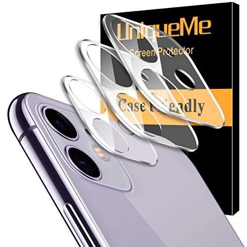 [ 3 Pack] UniqueMe Camera Lens Protector for iPhone 11 Tempered Glass [New Version] Add Cameras Flash Circle