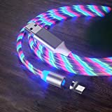 MJYT Charging Cable,Glowing LED Magnetic 3 in 1 USB Charging Cable Fast Charge Data Cable Compatible with All Phones