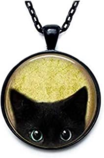 Black Cat Necklace - Peeking Black Cat Pendant - Cute Black Cat Jewelry