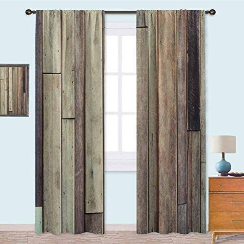 YUAZHOQI Blackout Thermal Insulation Curtain Antique Planks Flooring Wall Picture American Style Western Rustic Panel Graphic Print Curtains for Bedroom 95 Inches Long Brown