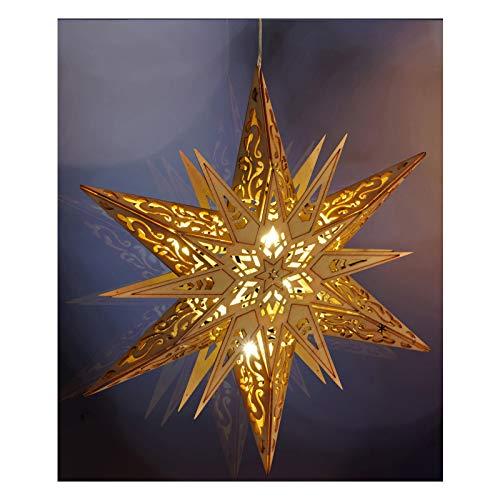 Holz Deko-Stern, Weihnachten, mit 6 warmweißen Lichtern, Ø 30 cm - Weihnachtsbeleuchtung Stern Holz Leuchtstern Fensterdeko Dekoration
