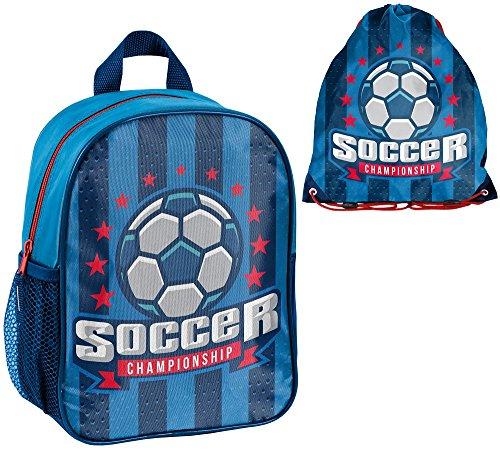 Fußball Set 2 teilig Kindergartenrucksack Kindergartentasche inkl. Sportbeutel | sehr leicht | geräumig | 300 Gramm | 28x22x10 cm | Kinderrucksack