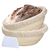 Bread Proofing Basket Round Dough Baking Bowl Basket kit 2 Pack 9 Inch Natural Rattan Bakers Proving Baskets with Linen Liner, Plastic Scraper for Professional and Home Bakers