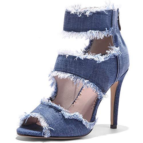 Ducarulan Moda Jeans Sandalias Stiletto Tacon Alto Correa De Tobillo Summer Zapatos...