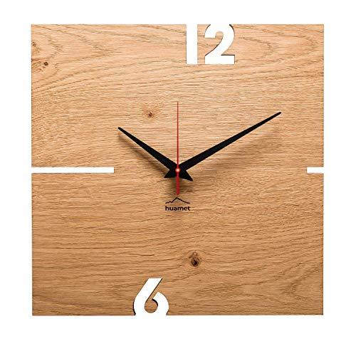 huamet. Holz Wanduhr Eiche Astig PUHR, eckig - echtes Holz, einzigartiges Design, geräuschlos ohne Ticken - Qualitätsprodukt Made in Südtirol - CH51-A-00