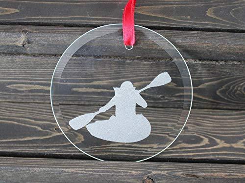 Tiukiu Round Glass Ornament, Kayaking Ornament, Dancing, Personalized Gift, Keepsake Christmas Ornament, Water Sports, Paddling