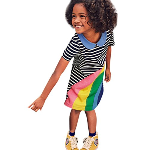 K-youth Ropa Niña, Rayas Arcoiris Verano Vestidos Niñas Vestido de Fiesta de Princesa Tutu Vestidos Niñas Vestido de Fiesta Cumpleaños para Niña (Negro, 4 años)