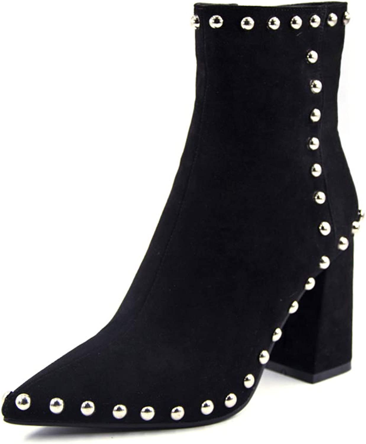 Zarbrina Womens Chunky Block Heel Platform Ankle Boots Ladies Fashion Beaded Sexy Round Toe Rubber Sole Zipper Up Slip On Party Dress shoes