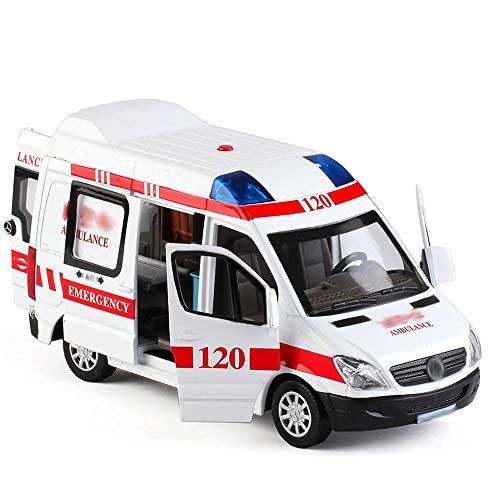 Xolye Simulation Stretcher Ambulance Kinderspielzeugauto-Modell kann die Tür öffnen und Pull Back Jungen-Spielzeug Auto-Metall Simulation Soundeffekt Ambulance Spielzeug-Kind-Geschenk