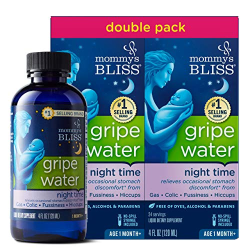 Mommy's Bliss Gripe Water Night Time Double Pack, Relieves Occasional Stomach Discomfort From Gas, Colic &re Hiccups, Gentle and Safe, Made for Infants Age 1 Month+, 2 pack (Total 8 Fl Oz)