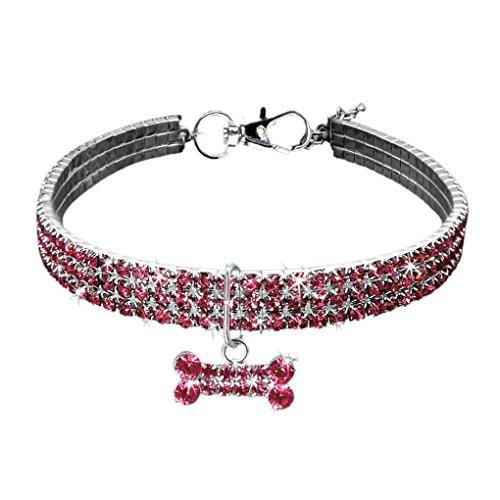 wanzhaofeng Bling Collar de Cristal Gato Suministros Ajustable del Metal del Perrito de Brillante del Rhinestone Lleno Suave Collares para Mascotas para Perros pequeños Medio
