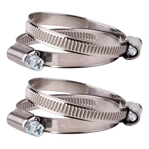 Juego de 4 abrazaderas ajustables de acero inoxidable para manguera de 40 a 60 mm de diámetro