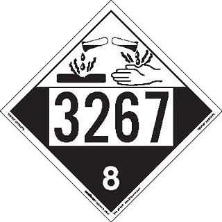 Labelmaster ZEZ43267 UN 3267 Corrosive Hazmat Placard, E-Z Removable Vinyl (Pack of 25)