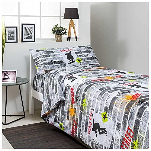 COTTON ARTean Funda Nordica Juvenil Reversible Roll Cama de 90 X 190/200 50% ALGODÓN-50% POLIÉSTER. Multicolor