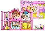 Große Puppenhaus mit Möbeln und Figuren - Breite 69 cm - 2 Etagen Puppenhaus aus Kunstoff -...