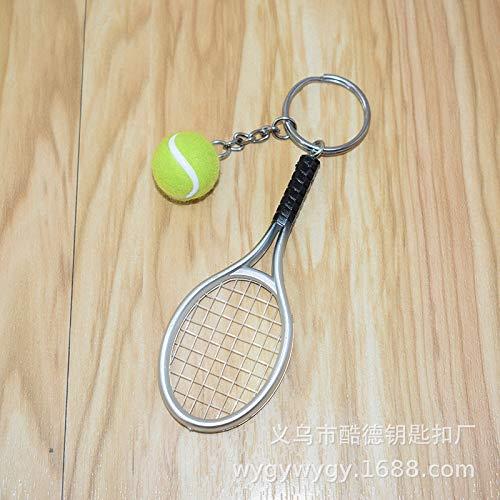 Schlüsselbund Anhänger Spot Tennisschläger Schlüsselanhänger Simulation Tennis Schlüsselanhänger Sportartikel Schlüsselanhänger Tasche Hängen Ornamente S6 Stück Schläger Länge 9 Cm, Ball 2 Cm A