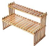 Soporte de Planta de Bambú de Mesa de 2 Niveles - Estantes de Planta de...