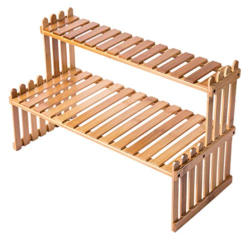 Soporte de Planta de Bambú de Mesa de 2 Niveles - Estantes de Planta de Escritorio Soporte de...