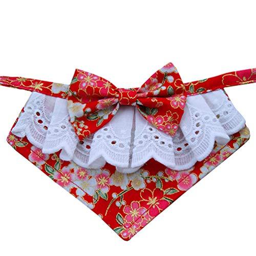 Balacoo Weihnachten Haustier Bandana Lätzchen Blumenmuster japanischen Dreieck Hund Schal Dreieck Halstuch Weihnachten Haustier Kostüm für Hund Katzen