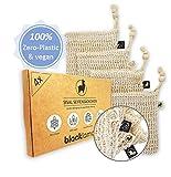 QUALITÄT designed in HAMBURG - [4x] Sisal Seifensäckchen mit Baumwoll-Labels - 100% vegan -...