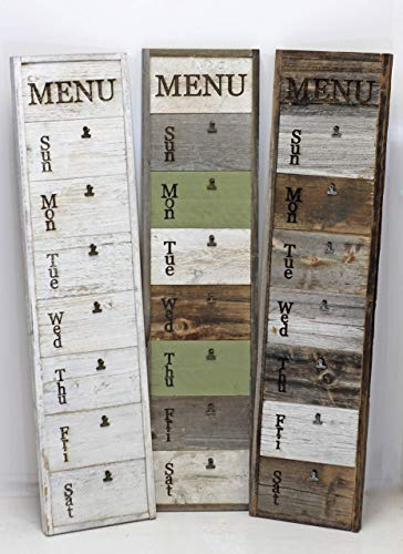 Weekly Menu Board, Vertical Wall Mounted Rustic Reclaimed Wood Sign with Clips and Mini Chalkboard Slats, Vintage Farmhouse Kitchen Display with Customized Accent Color Options.