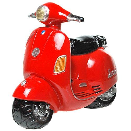 Spardose Motorroller, rot sehr edel und groß mit Gummiverschluß