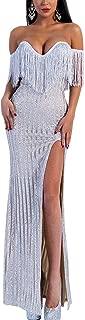 Women's Sexy Elegant V Neck Off Shoulder Tassel Glitter Split Maxi Dress
