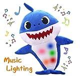 AMZYY Baby Shark Cartoon Peluches Tiburones Suaves Canto Y Muñecas Brillantes Niños Juguete Infantil Regalos para Niños,Blue