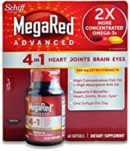 Schiff MegaRed Advanced 4 in 1 Heart Joints Brain Eye 60 Softgels 900mg Extra Strength