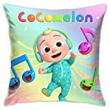 MOUISITON Pillowcase Kid's Sofa Throw Pillow Cocomelon Birthday Cushion Home Living Soft Square Cover Decorative Bedroom Couch 18 X 18 Inch