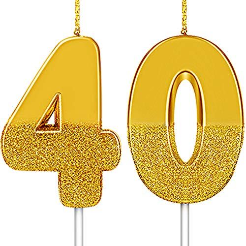 2 Pieces Number Candles Gold Glitter Birthday Candles Numeral Cake Topper Decorations for Birthday Wedding Anniversary Graduation Supplies (Number 40)
