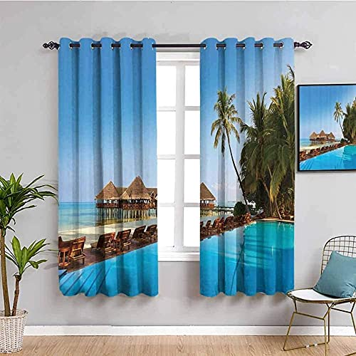 JYDFC Curtains for Bedroom Eyelet - Thermal Insulation Noise Reduction - 3D Digital Printing - Super Soft Thick - Children's Room Boy Girl Bedroom Room - 92X72 Inch - Blue Sky Beach Building Plant