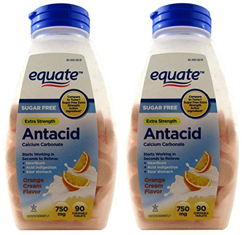 Sugar Free Antacid Orange Cream Flavor 180 Chewable Tablets Equate - Compare to Tums (2 Bottles of 90 Each) by Equate