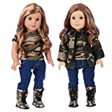 DreamWorld Collections - Military Style - Clothes Fits 18 Inch American Girl Doll - 4 Piece Outfit - Camouflage Jacket, T-Shirt, Stretchy Jeans and Camouflage Boots (Dolls Not Included)